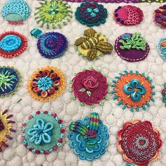 All stocked with Razzle and Dazzle rayon thread. I love the sheen and a little subtle sparkle Wool Applique Quilts, Wool Quilts, Hand Applique, Hand Embroidery Stitches, Felt Applique, Embroidery Sampler, Wool Embroidery, Flower Quilts, Wool Art