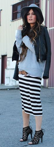 My striped skirt, sweatshirt, belt, leather jacket, and flats. Can wear sandals or boots.