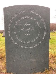Bespoke headstones for graves - stunning headstone with lettering carved in two circles in slate. Light Vs Dark, Grave Headstones, Grave Markers, Memorial Stones, Cemetery Art, Letter Example, Lettering Styles, Cancer Support, How To Raise Money