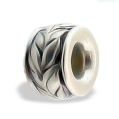 Sterling Silver Maile Leaf Bead with Black Enamel - Puka Bead Collection - Collections