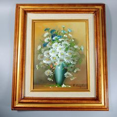 Oil on Canvas Painting Still Life Daisies Blue Vase by R. Blue Vase, English Decor, Vintage Floral