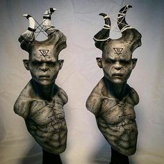 """From @creaturekits: Looking for good homes-- I have two """"TheBanished"""" in this Ash paint style available. These probably won't be listed in my shop since there's only two left-- Message me if you're lookin' to adopt! They kinda look like they need some hugs n kisses. And maybe some egg nog.  #demon #sculpture #monsters #devil #collectable #homedecor #iwant"""