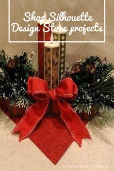 """Create a seasonal centerpiece with sturdy hourglass tray, a trio of narrow 3D candle sticks with concealed LED battery tealight with flame exposed, a variety of greenery sprigs (boxwood, evergreen ponderosa, cedar) and mini pine cone. Project as shown measures approx. 14"""" end to end, 8"""" wide, 7.7"""" tall. Enjoy both the creation and display of this fun project. Silhouette Projects, Silhouette Design, Fun Projects, Design Projects, Candle Sticks, Album Design, Christmas Centerpieces, Hourglass, Pine Cones"""