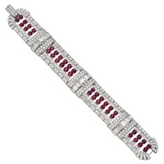 J E CALDWELL 1920's Art Deco Ruby Diamond Bracelet  USA