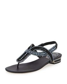 Rene+Caovilla+Pearly+Crystal+Flat+Thong+Sandals+Black+|+Shoes+and+Footwear