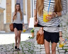 H&M Striped Shirt, Zara Silky Shorts, Topshop Espadrilles, Zara Bag