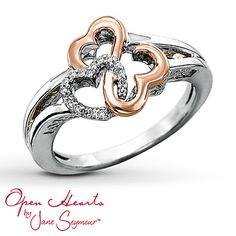 Open Hearts Ring  1/20 ct tw Diamonds Sterling Silver/14K Gold size 5. perfect promise ring