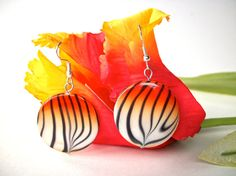 Tiger earrings animal print halloween jewelry round by StarJewels, $12.00 #handmadebot #boebot #hmcspooky