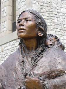 Sacagawea, the daughter of a Shoshone chief, was born around 1788 in Lemhi County, Idaho. At around age 12, she was captured by an enemy tribe and sold to a French-Canadian trapper who made her his wife. In November 1804, she was invited to join the Lewis and Clark expedition as a Shoshone interpreter. After leaving the expedition, she died at Fort Manuel in 1812