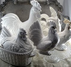 vintage collection of white roosters and one hen
