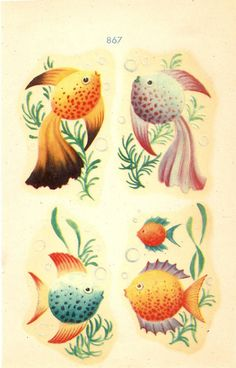 Two Packages of 1940s Vintage Meyercord Fish by SalesByTheSeaShore, $5.99 for both together