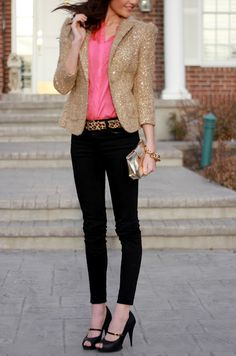 sequin blazer. bright pink top. leopard print belt. skinny ankle pants. heels.
