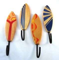 surf hooks - but in different colors to match the room