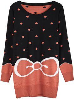 Black Orange Long Sleeve Polka Dot Bow Print Sweater