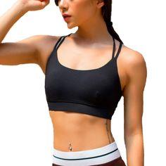 aa3139c254 Women s Padded Sports Bra Criss Cross Back High Impact Strappy Yoga Bra -  Black - CP188T8365G