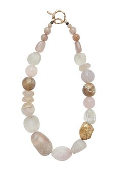 Moonstone, agate, crystal and quartz with hand formed bronze bean. Total length 18 inches