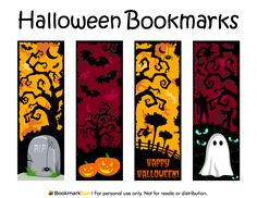 Free printable Halloween bookmarks. Download the PDF template at http://bookmarkbee.com/bookmark/halloween/