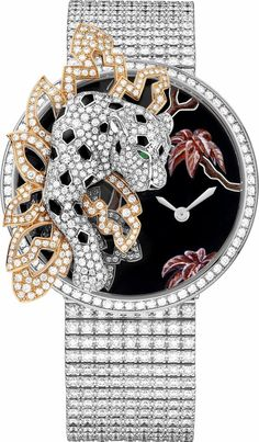 High Jewelry watches created by Cartier. Brought to life by circles, lozenges and squares, and set with the most precious stones, the graphic and harmonious lines of Cartier High Jewelry watches create extravagant perspectives. Cat Jewelry, Animal Jewelry, High Jewelry, Jewelry Watches, Datejust Rolex, Cartier Panthere, Expensive Watches, Luxury Watches For Men, Beautiful Watches