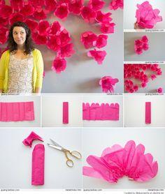 DIY wall art handmade paper flowers tutorial