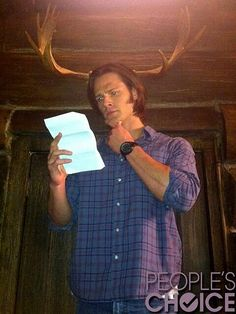 """Crowley: """"DISHONOR on you (Dean)!!! DISHONOR on your MOOSE (Sam)!!!"""" Here's to embracing your Moose side!! Jared Padalecki"""