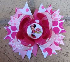 Minnie Pink Cupcakes Custom Boutique Hair Bow for Disney World Mouse Vacation
