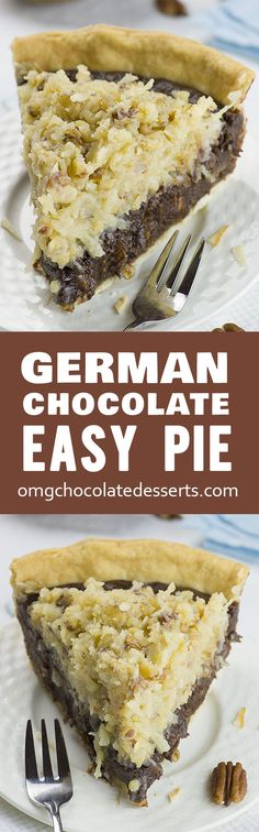 Chocolate Pie German Chocolate Pie recipe - If you love German chocolate cake, then you 'll love this pie.German Chocolate Pie recipe - If you love German chocolate cake, then you 'll love this pie. German Chocolate Pies, Chocolate Pie Recipes, Chocolate Desserts, Chocolate Filling, Flourless Chocolate, Chocolate Chocolate, Chocolate Smoothies, Chocolate Mouse, Chocolate Shakeology