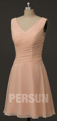 robe demoiselle d'honneur rose nude col en V plissé