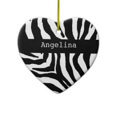 Zebra Print Personalized Name Ornament