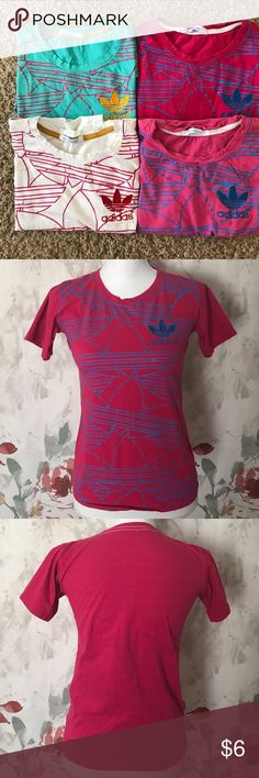 Adidas • Tee Price for one! • never been worn just wash • Let me know what color would you like • Available in 4 color - White, Turquoise, Hot pink and Pink •I bought from out of state so I'm not sure if they are äuthéntîc price reflect. • Fit women 0-2 Adidas Tops Tees - Short Sleeve