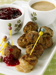 Swedish Meatballs - Lean ground beef and fat-free half-and-half lower the fat in these meatballs. Serve them as an appetizer or with noodles for dinner. /v