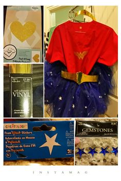 Wonder Woman Scrub RN costume 1 red scrub top/ 3 to 4 spools blue tulle/ 2 to 3  packages of foam stars/  1 package of gemstone stars,  red, clear, and blue/ gold self  adhesive vinyl /cardboard / 1 inch elastic - for tutu/ hot glue & gun/ iron on gold transfer  (the heart was the perfect size,  i just cut out the shape by  printing out a black one and  sticking it on the back and  cutting) /red tennis shoes/ blue scrub pants