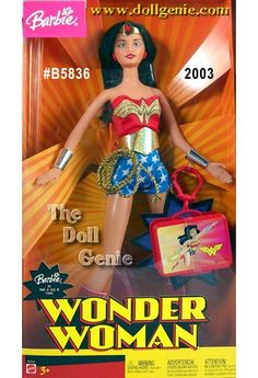 Barbie as Wonder Women, dressed in her original outfit, red shirt, shorts with white stars, gold belt, with gold breaded rope at waist, red boots, earrings, headband, red suitcase, long black hair, she is truly a superhero.