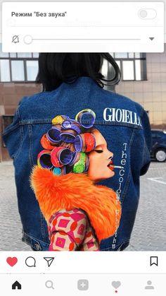 Painted Denim Jacket, Painted Jeans, Painted Clothes, Denim Art, Denim Ideas, Der Arm, Diy Clothing, Denim Fashion, Swagg
