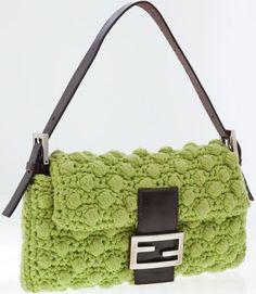 #Fendi Lime Green Knit Baguette Shoulder Bag.