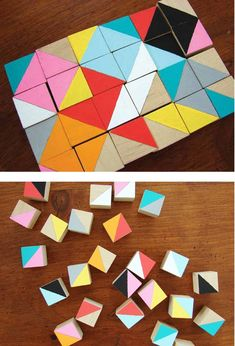 DIY to turn plain wooden blocks into a gorgeous puzzle game or framed artwork. you can buy these unfinished blocks from us. just sayin'. Wooden Block Puzzle, Wooden Puzzles, Wooden Blocks Toys, Diy For Kids, Crafts For Kids, Wood Crafts, Diy And Crafts, Bois Diy, Block Craft