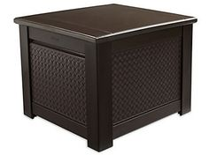 Complement your decor with this Rubbermaid Chic Basket Weave Patio Storage Cube Deck Box in Brown. Outdoor Storage Boxes, Patio Storage, Cube Storage, Storage Spaces, Storage Ideas, Patio Seat Cushions, Patio Furniture Cushions, Deck Box, Modern Outdoor Furniture