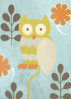 """Hootie Owl"" nursery wall art by Sally Bennett for Oopsy daisy, Fine Art for Kids $59"