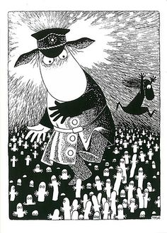 Moominsummer Madness by Tove Jansson. ◉◉ Writer and artist Tove Jansson come from Finland ◉◡◉ - Finland is country between Sweden and Russia ◉◡◉ ◉◡◉ ◉◡◉ in finnish this pictures characters are: Hemuli and many Hattivattis ◉◡◉ Tove Jansson, Moomin Books, Children's Book Illustration, Illustrations, The Awkward Yeti, Moomin Valley, Tinta China, Bd Comics, Weird Creatures