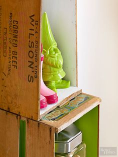 It's amazing what you can do with a cheap wooden crate from IKEA or one that you found at a flea market. With a little paint and DIY make a wooden crate coffee table, wine bar, or entryway shoe holder.