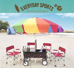 With Collapsible Wagon, Folding Table-top. Optional 8' Giant Beach Umbrella. The portable folding table wagon may also have an umbrella with a pole. A portable folding table wagon includes a wagon with a wagon body that has a folding wagon frame and wheels connected to a lower portion of the folding wagon frame. | eBay!