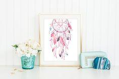 Watercolor Boho Decor, Dreamcatcher, Pink Teal Art,Indian Print, Wall Art, House Wall Decor, Home Art Print, Boho House Decor, Home Wall Art