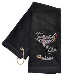 Crystal Embellished Cosmo Girl Black Golf Towel. Bring onto the course - Functional Fashionable Fun!