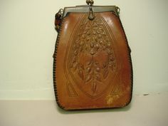 Antique Art Nouveau Brown Leather Tooled Purse (by Jemco)
