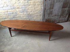 Mid Century Danish Modern Surfboard Table - Modern Danish Coffee Table - Heritage Drexel Surfboard Table - Walnut Surfboard Table -