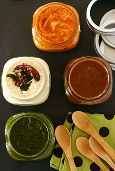 quick Indian chutneys: tomato, cilantro, and tamarind-date.