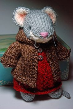 Knitted Woodland Mouse Toy in Red Wool Dress and Tweed Hoodie Sweater