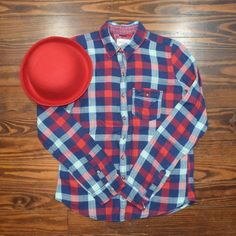 MULTICOLOR PLAID BUTTON TOP WORN NO TRADE ‼️PRICE FIRM‼️ ‼️A button on one of the arms is gone‼️ Abercrombie & Fitch Tops Button Down Shirts