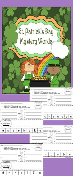 Students cut out and use the letters from a St. Patrick's Day themed mystery word to make as many words as they can. Then they try to create the mystery word.