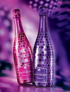 Champagne Taittinger Nocturne and Nocturne Rose Alcohol Bottle Decorations, Alcohol Bottles, Nocturne, Champagne Corks, Wine Photography, Happy New Year Greetings, Cigars And Whiskey, Wine Label, Sparkling Wine