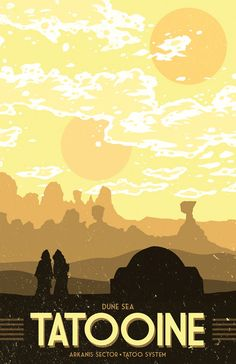 Tatooine Vacation Poster 12 x 18 inches Star by MattPepplerArt